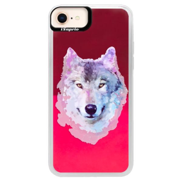 Neónové púzdro Pink iSaprio - Wolf 01 - iPhone 8