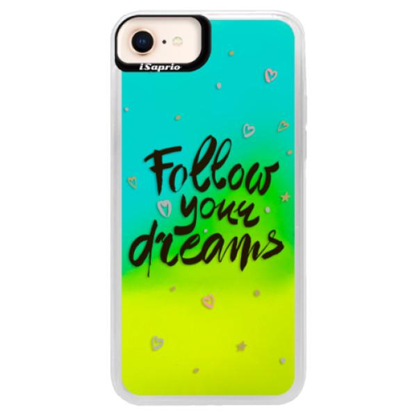 Neónové puzdro Blue iSaprio - Follow Your Dreams - black - iPhone 8