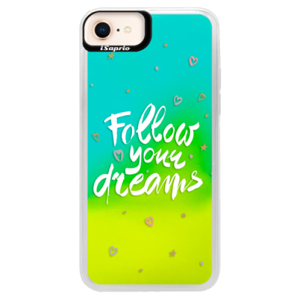 Neónové puzdro Blue iSaprio - Follow Your Dreams - white - iPhone 8