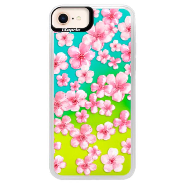 Neónové puzdro Blue iSaprio - Flower Pattern 05 - iPhone 8