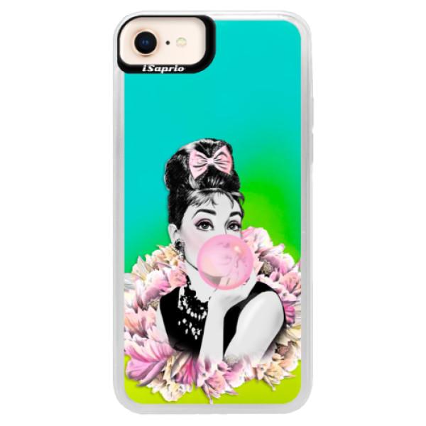Neónové puzdro Blue iSaprio - Pink Bubble - iPhone 8