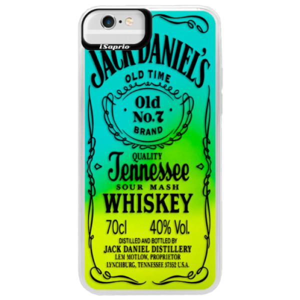 Neónové puzdro Blue iSaprio - Transparent Black Jack - iPhone 6 Plus/6S Plus