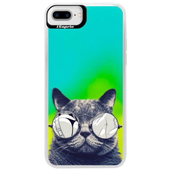 Neónové puzdro Blue iSaprio - Crazy Cat 01 - iPhone 7 Plus