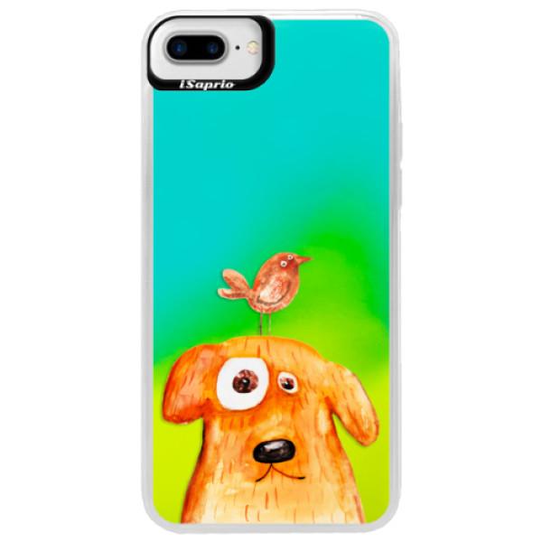 Neónové puzdro Blue iSaprio - Dog And Bird - iPhone 7 Plus