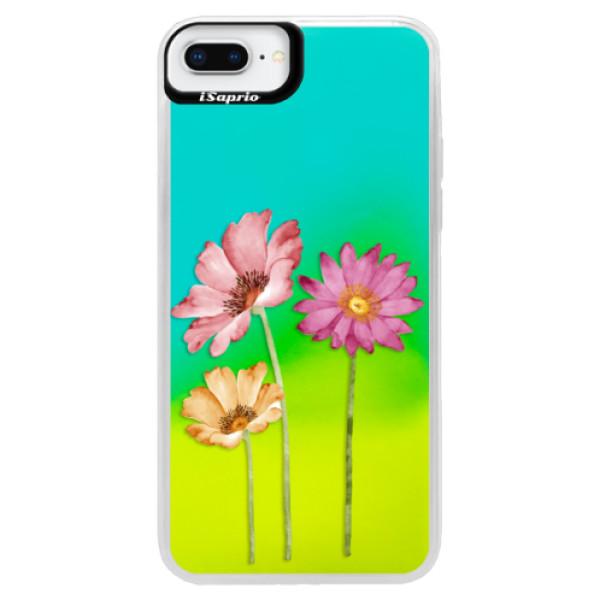 Neónové puzdro Blue iSaprio - Three Flowers - iPhone 8 Plus