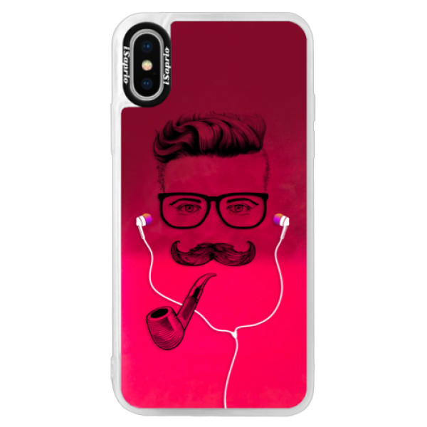 Neónové púzdro Pink iSaprio - Man With Headphones 01 - iPhone X