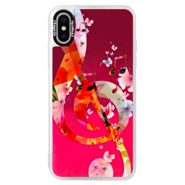 Neónové púzdro Pink iSaprio - Music 01 - iPhone X