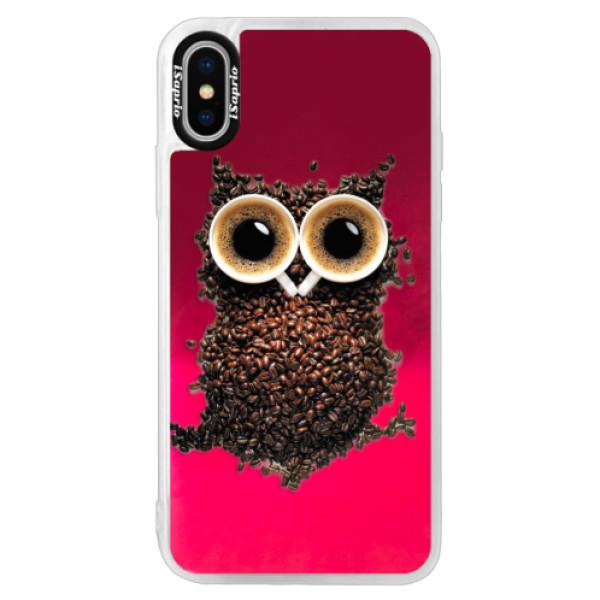 Neónové púzdro Pink iSaprio - Owl And Coffee - iPhone X