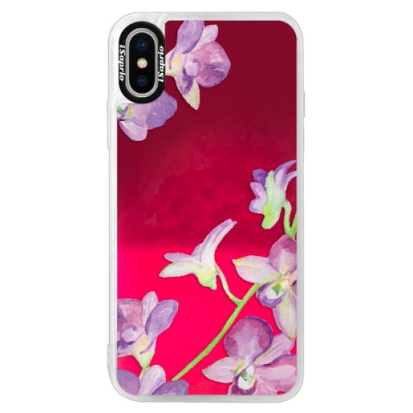 Neónové púzdro Pink iSaprio - Purple Orchid - iPhone X