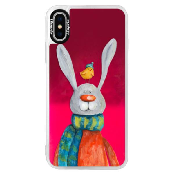 Neónové púzdro Pink iSaprio - Rabbit And Bird - iPhone X