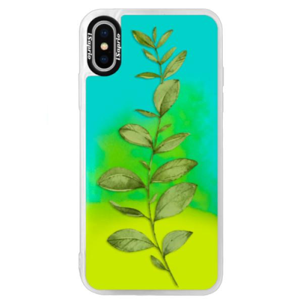 Neónové puzdro Blue iSaprio - Green Plant 01 - iPhone X