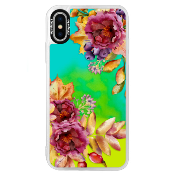 Neónové puzdro Blue iSaprio - Fall Flowers - iPhone X