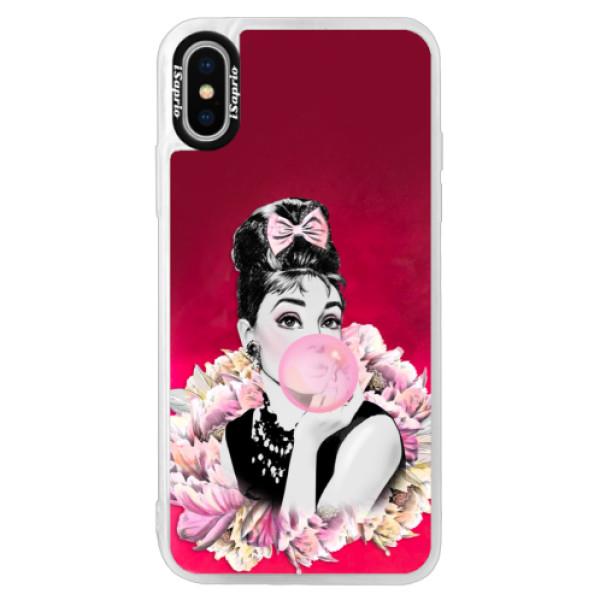 Neónové púzdro Pink iSaprio - Pink Bubble - iPhone XS