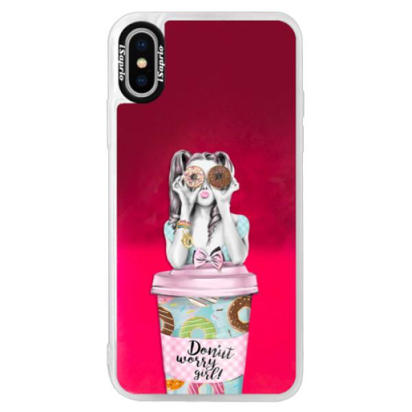 Neónové púzdro Pink iSaprio - Donut Worry - iPhone XS