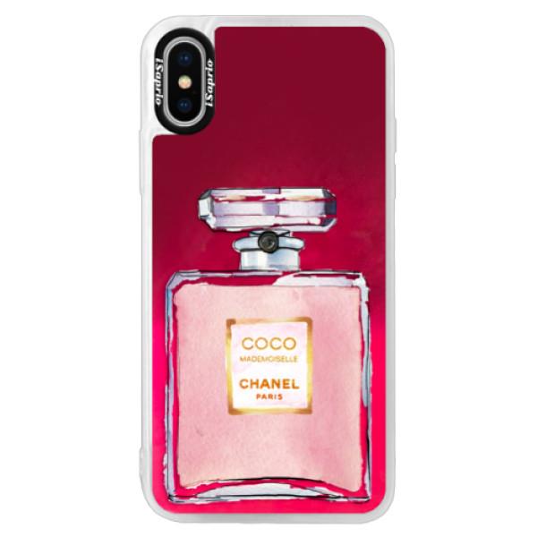 Neónové púzdro Pink iSaprio - Chanel Rose - iPhone XS