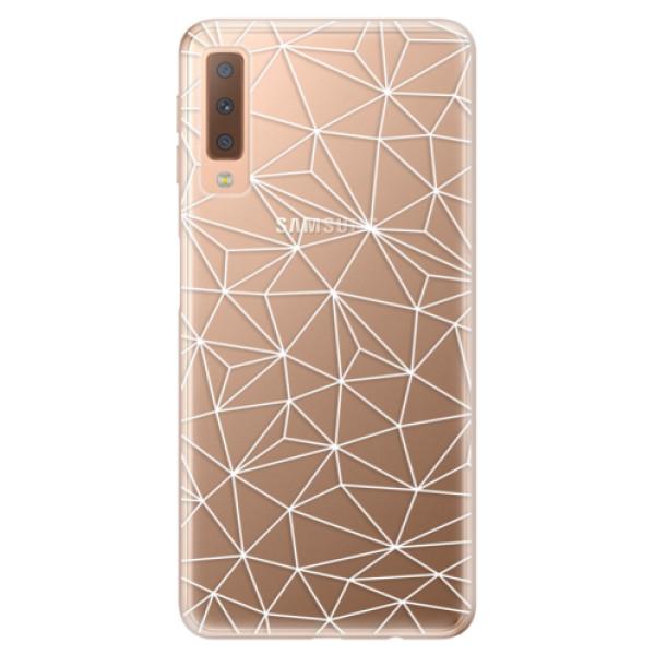 Odolné silikónové puzdro iSaprio - Abstract Triangles 03 - white - Samsung Galaxy A7 (2018)