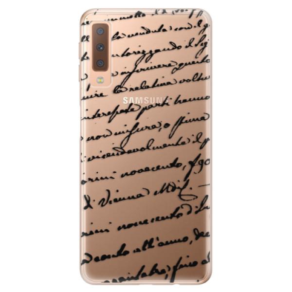 Odolné silikónové puzdro iSaprio - Handwriting 01 - black - Samsung Galaxy A7 (2018)