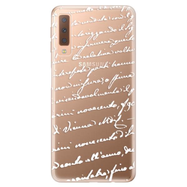 Odolné silikónové puzdro iSaprio - Handwriting 01 - white - Samsung Galaxy A7 (2018)