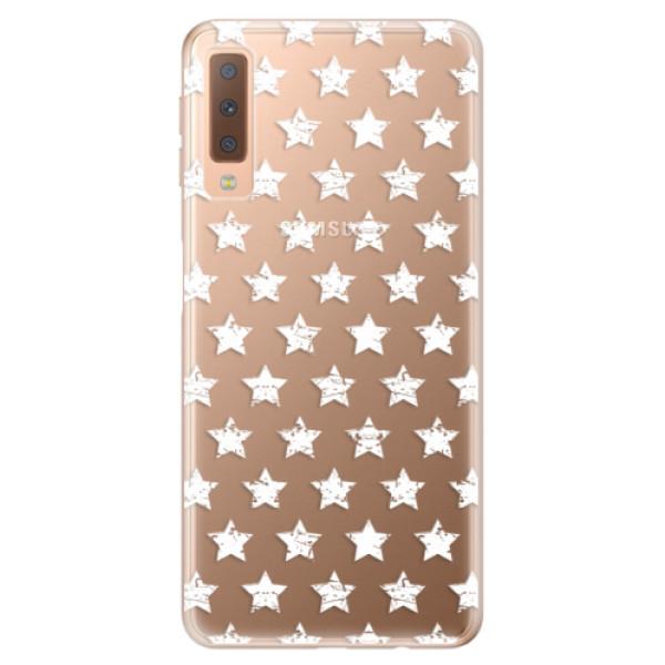 Odolné silikónové puzdro iSaprio - Stars Pattern - white - Samsung Galaxy A7 (2018)