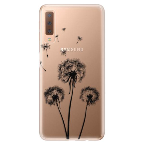 Odolné silikónové puzdro iSaprio - Three Dandelions - black - Samsung Galaxy A7 (2018)