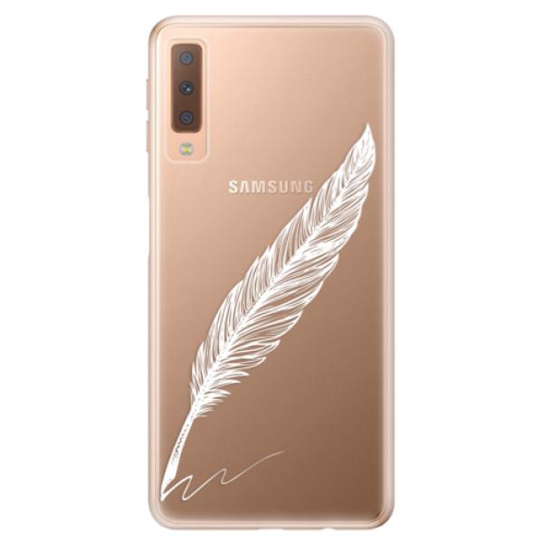 Odolné silikónové puzdro iSaprio - Writing By Feather - white - Samsung Galaxy A7 (2018)