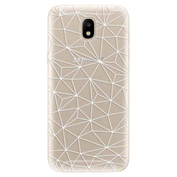 Odolné silikónové puzdro iSaprio - Abstract Triangles 03 - white - Samsung Galaxy J5 2017