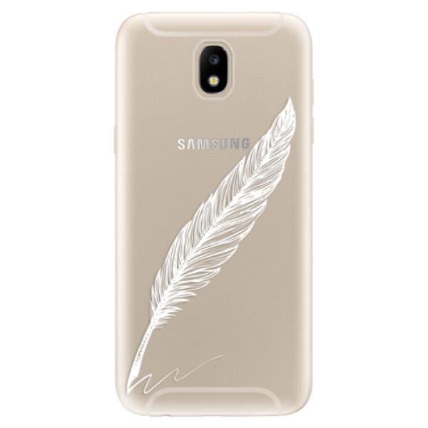Odolné silikónové puzdro iSaprio - Writing By Feather - white - Samsung Galaxy J5 2017