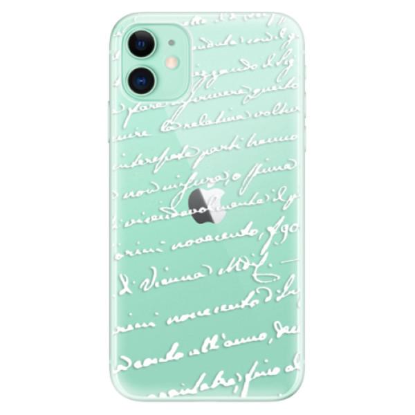 Odolné silikónové puzdro iSaprio - Handwriting 01 - white - iPhone 11