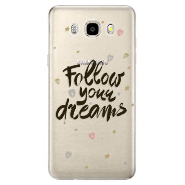 Odolné silikónové puzdro iSaprio - Follow Your Dreams - black - Samsung Galaxy J5 2016