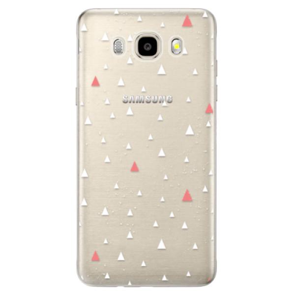 Odolné silikónové puzdro iSaprio - Abstract Triangles 02 - white - Samsung Galaxy J5 2016