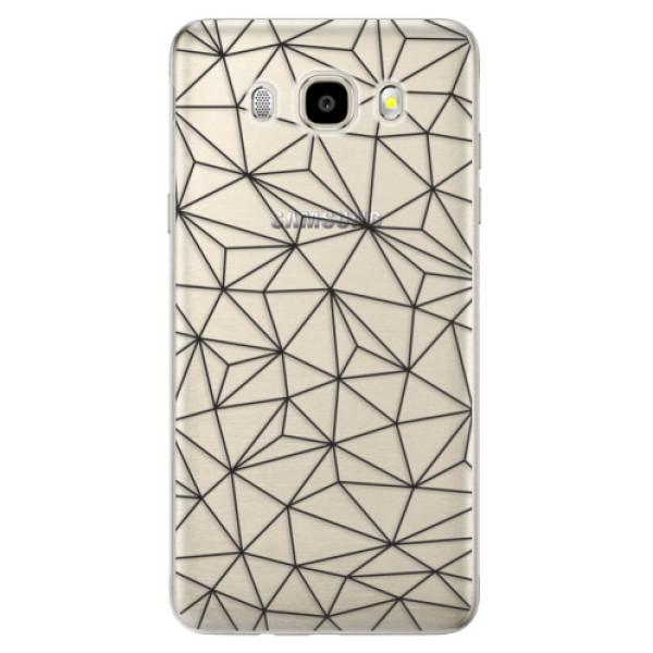 Odolné silikónové puzdro iSaprio - Abstract Triangles 03 - black - Samsung Galaxy J5 2016