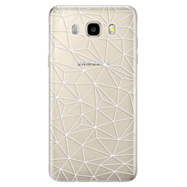 Odolné silikónové puzdro iSaprio - Abstract Triangles 03 - white - Samsung Galaxy J5 2016