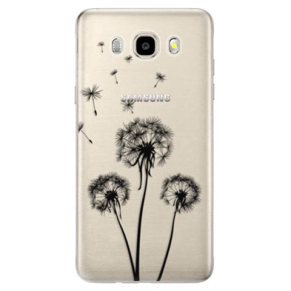 Odolné silikónové puzdro iSaprio - Three Dandelions - black - Samsung Galaxy J5 2016