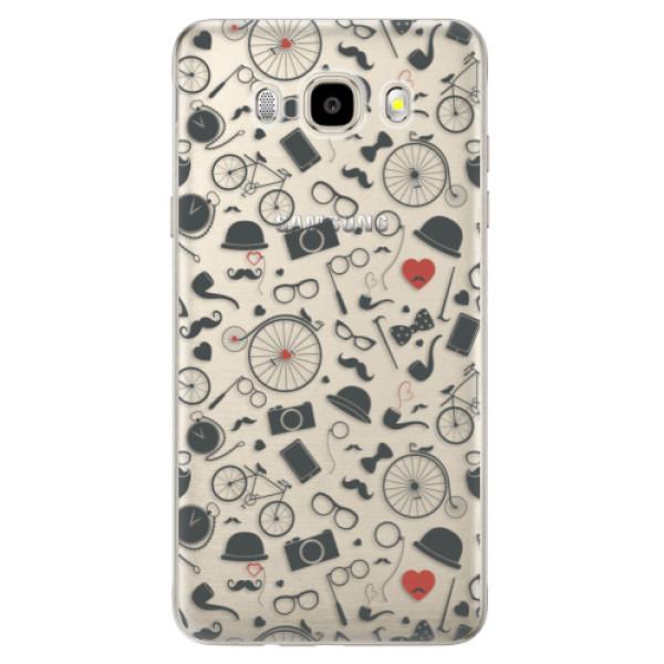 Odolné silikónové puzdro iSaprio - Vintage Pattern 01 - black - Samsung Galaxy J5 2016