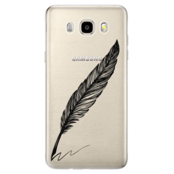 Odolné silikónové puzdro iSaprio - Writing By Feather - black - Samsung Galaxy J5 2016