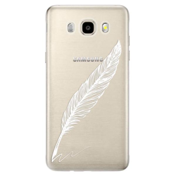 Odolné silikónové puzdro iSaprio - Writing By Feather - white - Samsung Galaxy J5 2016