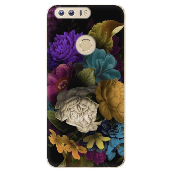 Odolné silikónové puzdro iSaprio - Dark Flowers - Huawei Honor 8