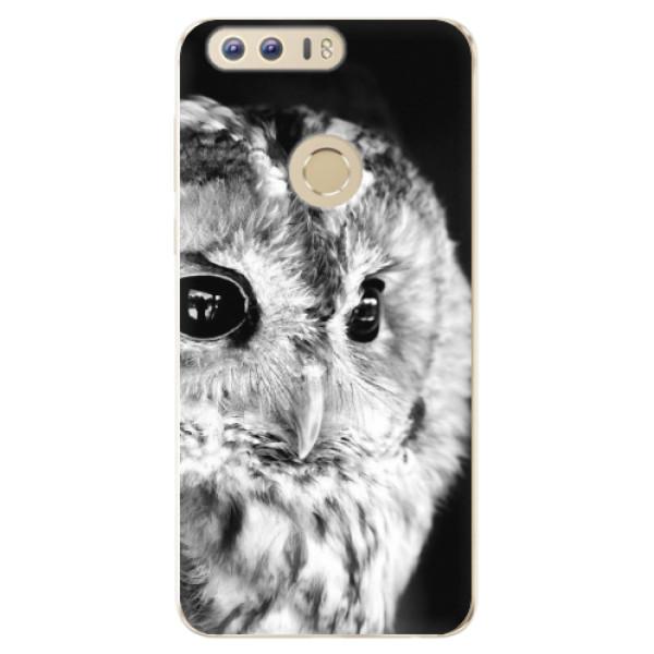Odolné silikónové puzdro iSaprio - BW Owl - Huawei Honor 8