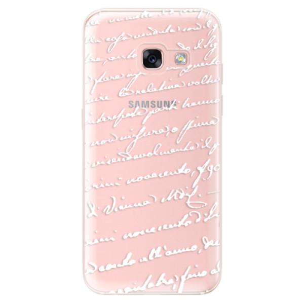 Odolné silikónové puzdro iSaprio - Handwriting 01 - white - Samsung Galaxy A3 2017