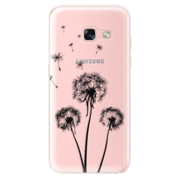 Odolné silikónové puzdro iSaprio - Three Dandelions - black - Samsung Galaxy A3 2017