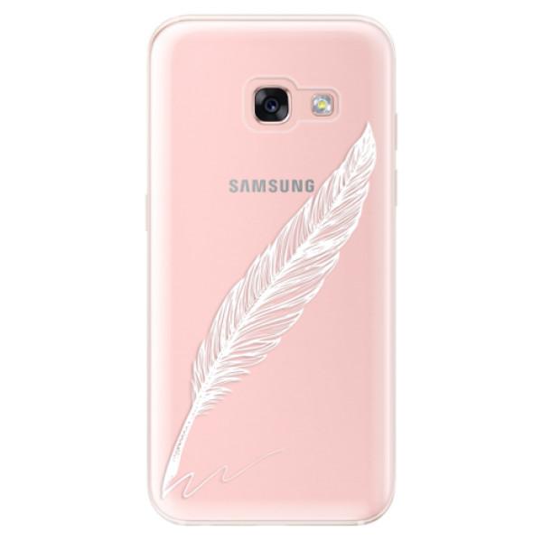 Odolné silikónové puzdro iSaprio - Writing By Feather - white - Samsung Galaxy A3 2017