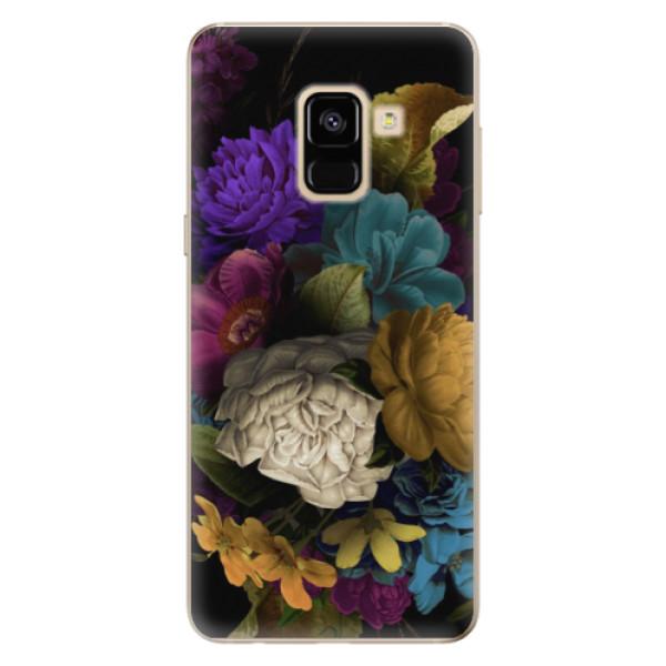 Odolné silikónové puzdro iSaprio - Dark Flowers - Samsung Galaxy A8 2018