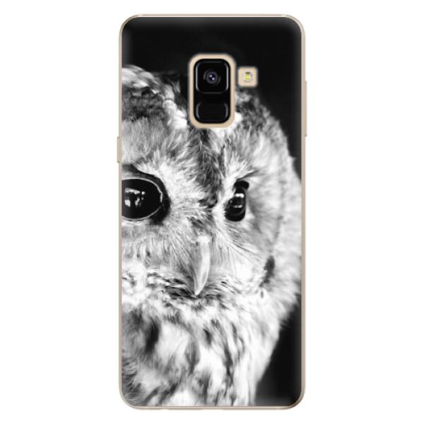 Odolné silikónové puzdro iSaprio - BW Owl - Samsung Galaxy A8 2018